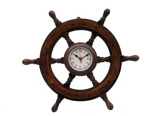 Wood Ships Steering Wheel Antiqued Copper Clock