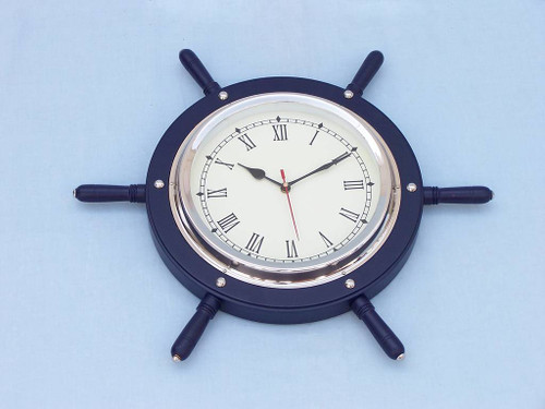Ships Steering Wheel Blue Chrome Clock Wall Decor