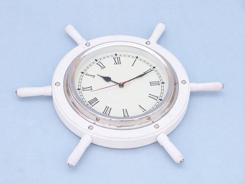 Ships Steering Wheel White Chrome Clock Wall Decor