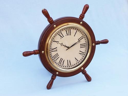 Wooden Ships Steering Wheel Brass Clock Wall Decor