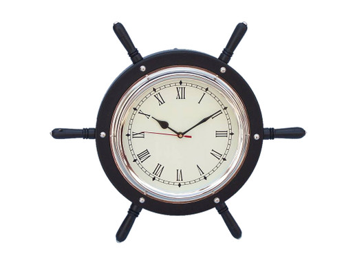 Pirate Ships Wooden Steering Wheel Black Chrome Clock