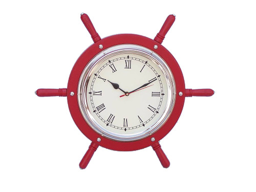 Red Ships Steering Wheel Chrome Clock Wall Decor