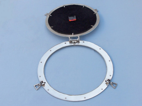 Ships Porthole Clock Chrome Nautical Hanging Wall Decor
