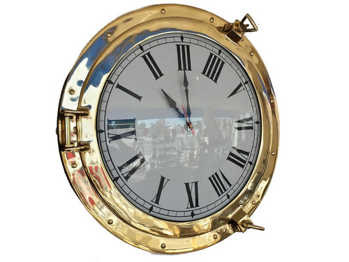Ships Porthole Clock Brass Nautical Hanging Wall Decor