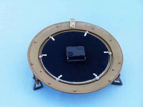 Ships Porthole Clock Antique Brass Nautical Wall Decor