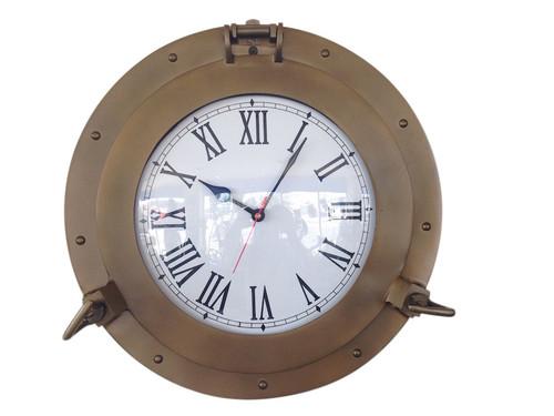 Ships Porthole Clock Antique Brass Nautical Wall Decor