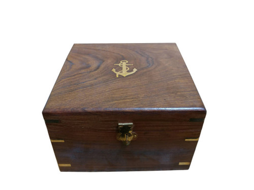 Brass Lifeboat Gimbaled Ships Compass Rosewood Case