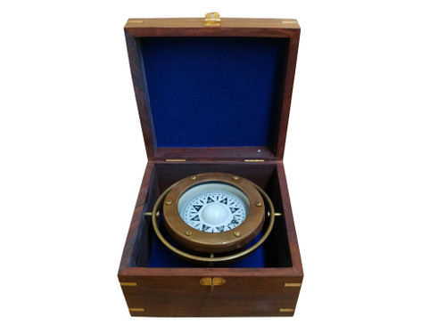 Antiqued Brass Lifeboat Gimbaled Compass Rosewood Case