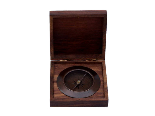 Admirals Compass Antique Copper Desktop Rosewood Case