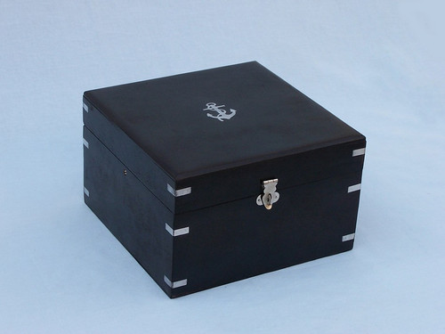 Lifeboat Gimbal Ships Compass Chrome Black Rosewood Case
