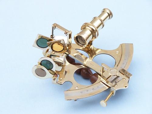 Brass British Sextant Wooden Case Marine Astrolabe