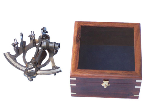 Antique Brass Finish Sextant Wooden Display Case Astrolabe
