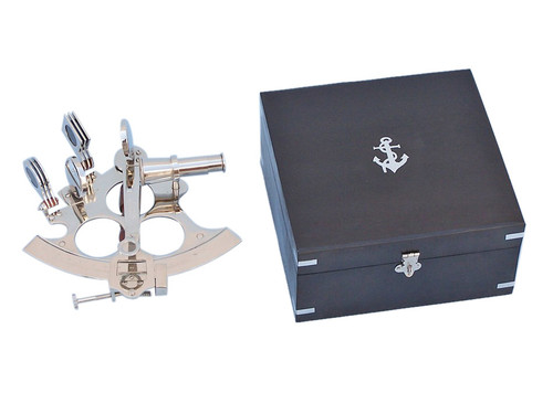 Sextant Chrome Finish Black Wooden Case Astrolabe