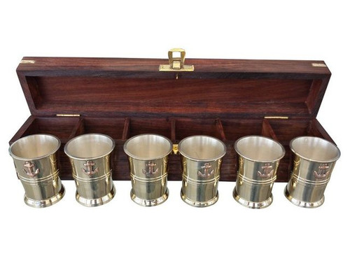 Anchor Shot Glasses Brass Set of 6 Rosewood Case