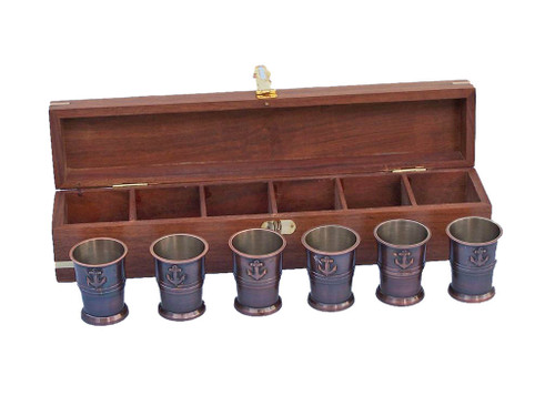 Anchor Shot Glasses Antique Copper Set of 6 Rosewood Case