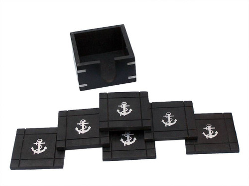 Chrome Anchor Inlay Coasters Set of 6 Black Wooden Holder