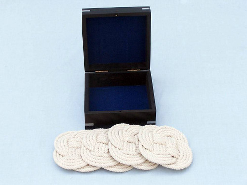 Nautical Knot Rope Coasters Black Rosewood Case