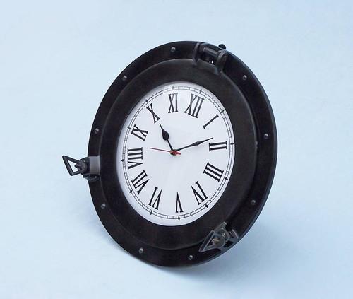 Ships Porthole Clock Black Finish Nautical Wall Decor