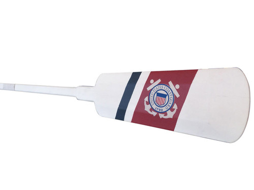 USCG Oar US Coast Guard Paddle White Wooden Hooks