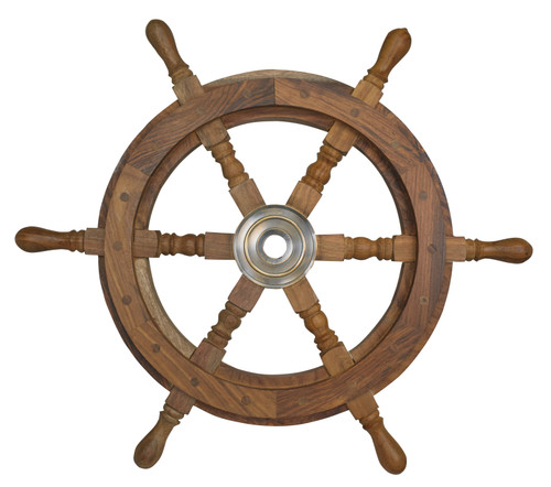 Captains Steering Wheel Wood Small Bronzed Center