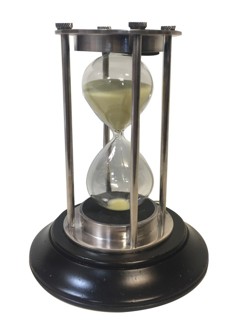 Brass Hourglass Sand Timer Silver Finish