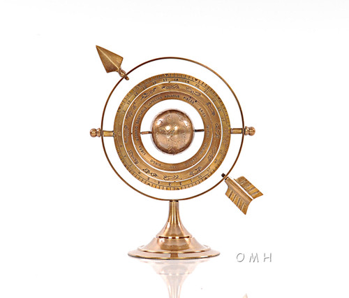Brass Armillary Dial Sphere Globe Desk Top Decor