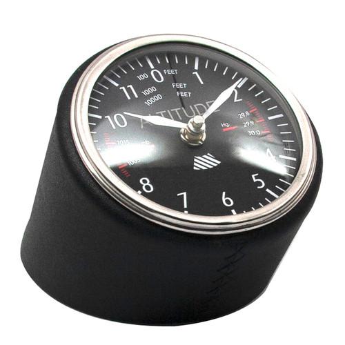 Altitude Clock Black Meter Dashboard Desk Leather Aluminum