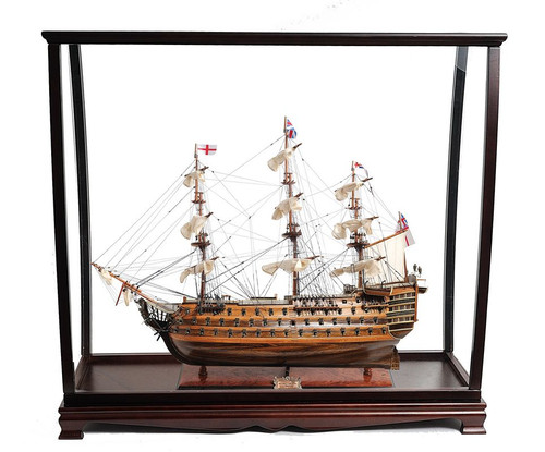 HMS Victory Table Top Display Case Nelsons Ship Model