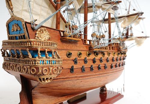 San Felipe Spanish Galleon Ship Model Display Case