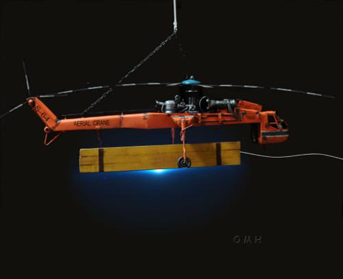 Sikorsky S-64 Skycrane Heavy Lift Helicopter Model Aerial Flying Crane