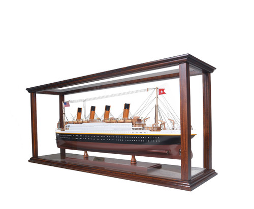 Brown Table Top Cruise Ship Model Wood Display Case