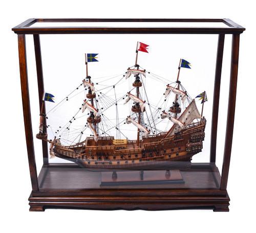 Brown Tall Ship Model Display Case Wood Table Top