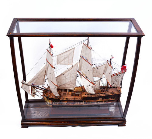 Brown Tall Ship Model Display Case Wood Plexiglass