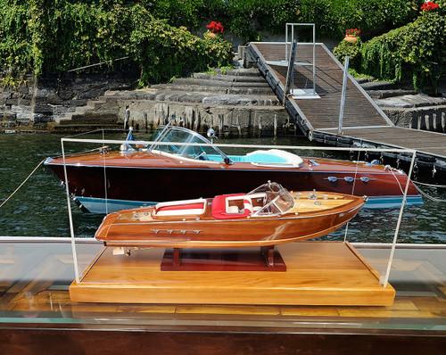Table Top Speed Boat Model Display Case Wood Plexiglass