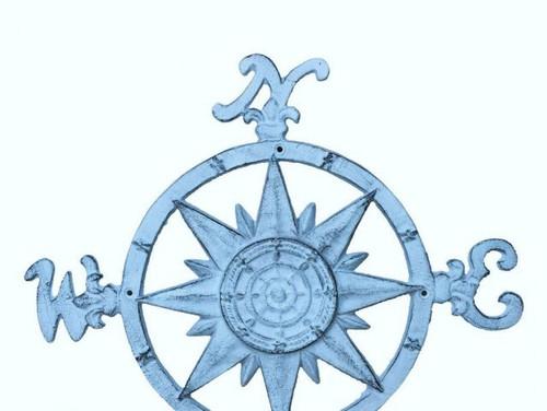 Compass Rose Windrose Light Blue Nautical Wall Decor