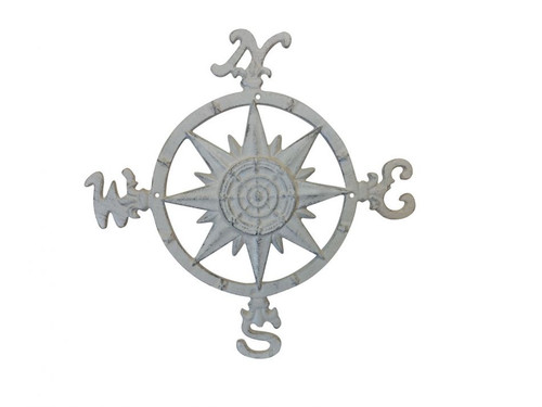 """Compass Rose 19"""" Windrose Rustic White Nautical Wall Decor"""