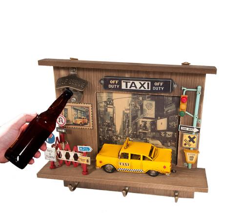 Taxi NYC City Cab Model Bottle Opener Key Rack Wall Decor
