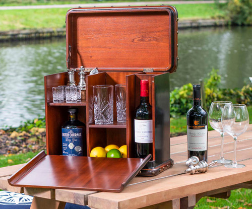 Picnic Box Victorian Bar Hamper Black Travel Trunk