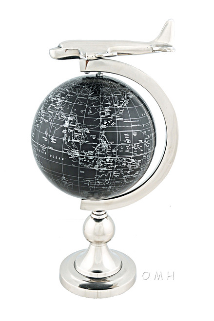 1930s Era Airplane Desktop World Globe Nickel Travel Agent Decor
