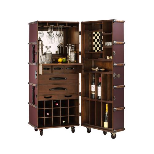 Bar Burgundy Steamer Travel Trunk Chest Storage Furniture