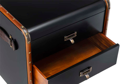 Stateroom Chest of Drawers Small Black Steamer Travel Trunk