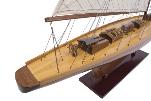 Shamrock I Yacht 1898 Americas Cup Wood Model UK Sailboat