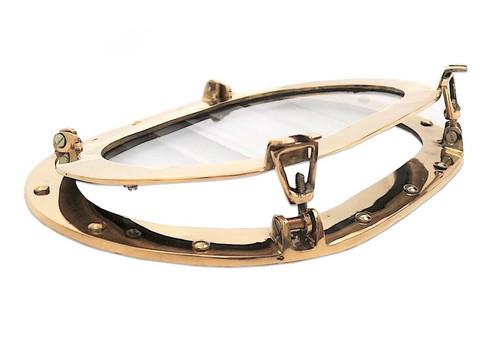 Brass Ships Porthole Window Oval Glass Oblong