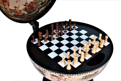 Chess Board Set Pieces Hidden Nautical Globe