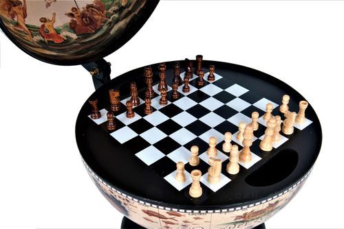 Chess Board Set Pieces Hidden Nautical Globe