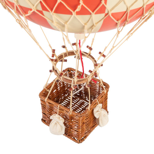 Hot Air Balloon Model Red White Check Aviation Ceiling Decor
