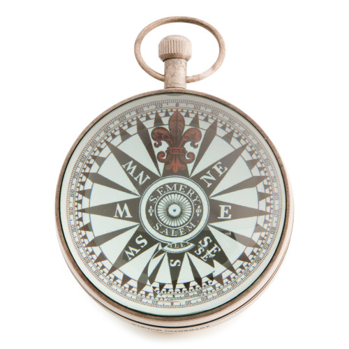 Pocket Travel Desk Clock Silver Finish Eye of Time Watch
