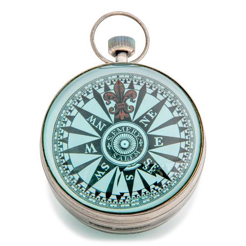 XL Pocket Travel Desk Clock Silver Finish Eye of Time Watch