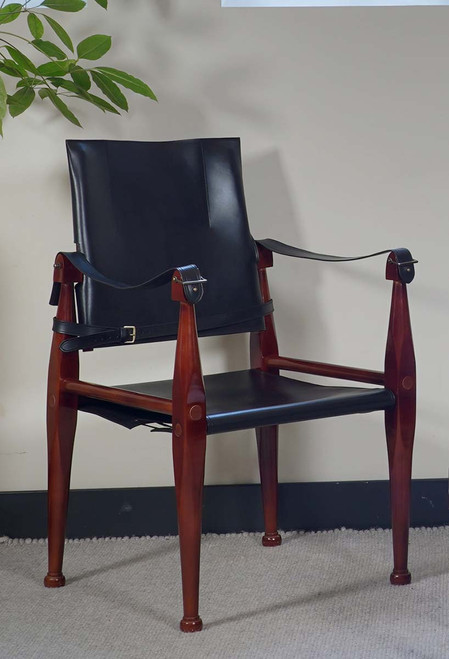 Black Bridle Leather Campaign Chair Wooden Camp Furniture