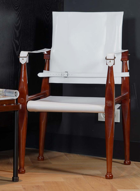 White Bridle Leather Campaign Chair Wooden Camp Furniture